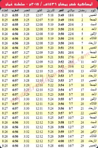 امساكية رمضان 2015 مسقط عُمان Ramadan 2015 Muscat Oman Imsakia