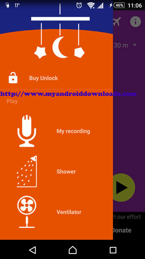 اختيار نوع الصوت المراد تشغيله من القائمة - تحميل برنامج Baby Sleep للاندرويد