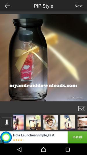 اختيار القوالب التي ترغب بها على الصورة الخاصة بك - تتحميل برنامج تعديل وتحرير الصور للاندرويد PIP Camera بيب كاميرا