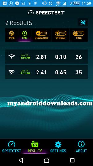 نتائج الفحص - تحميل برنامج قياس سرعة الانترنت للاندرويد Speedtest
