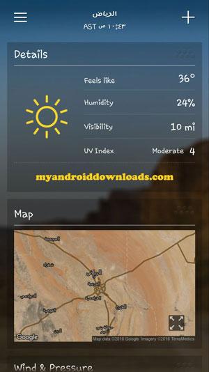 تفاصيل الرطوبة والحرارة والضغط - تحميل برنامج حالة الطقس من ياهو للاندرويد Yahoo Weather