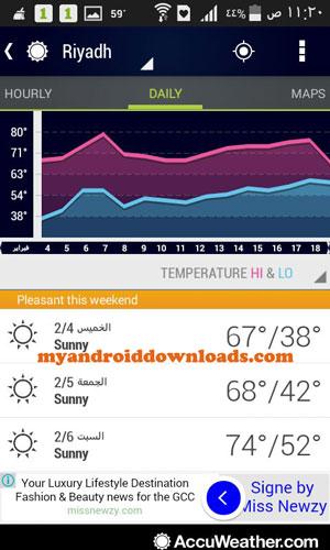 تطبيق توقعات الطقس للسامسنج جالكسى مجانا