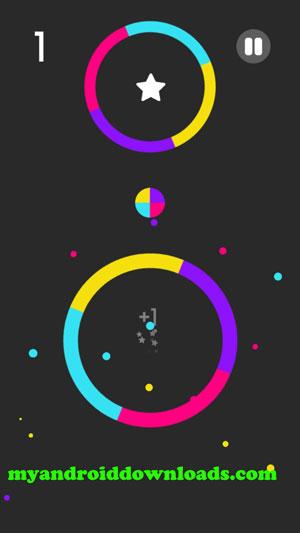 الانتقال عبر اللون المناسب - لعبة كلر سويتش للاندرويد Color Switch افضل العاب الاندرويد المجانية
