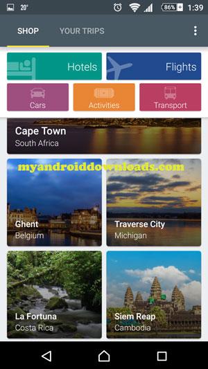 بامكانك اختيار نوع الحجز الذي ترغب به من خلال برنامج اكسبيديا - تحميل برنامج اكسبيديا للاندرويد Expedia لحجز الطيران والفنادق
