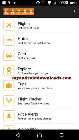 افضل الاسعار والعروض - تحميل برنامج برنامج محرك بحث السفر للاندرويد Kayak تطبيق حجز تذاكر الطيران