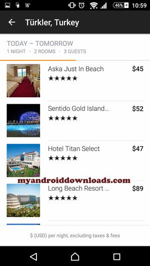 يمكنك اختيار الفندق الذي ترغب به - برنامج كياك لحجز تذاكر الطيران والسفر للاندرويد