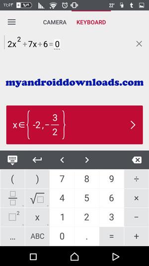 الة حاسبة قوية لادخال وحساب المعادلات الحسابية من خلال برنامج فوتوماث للموبايل لحل مسائل الرياضيات