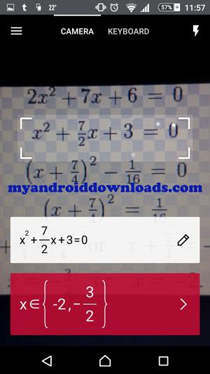 تصوير المسالة الرياضية باستخدام الكاميرا بعد تحميل برنامج Photomath للاندرويد تطبيق لحل مسائل الرياضيات باستخدام الكاميرا