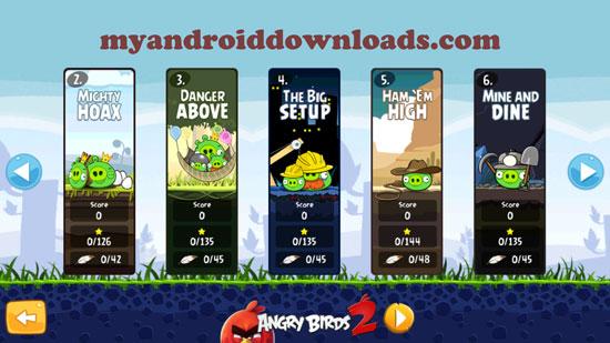 مراحل ومستويات مختلفة في لعبة انجري بيرد للمحمول مجانا كاملة