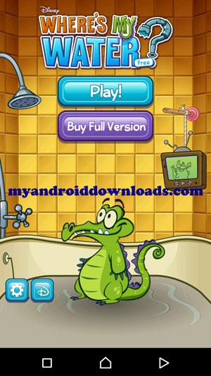 الشاشة الرئيسية لبدء اللعب بعد تحميل لعبة where's my water للاندرويد مجانا لعبة التمساح والماء