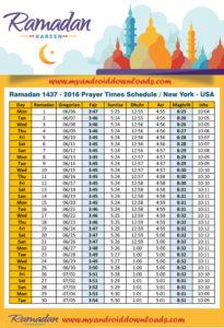 Fasting hours in New York, USA   Heures de jeûne à New York, États-Un