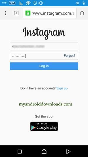 ادخال بيانات المستخدم بهدف اغلاق حساب انستقرام نهائيا