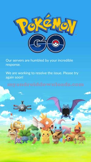 توقف السيرفر في هذه اللحظات - تحميل لعبة بوكيمون جو للاندرويد Pokemon GO - لعبة بوكيمون قو