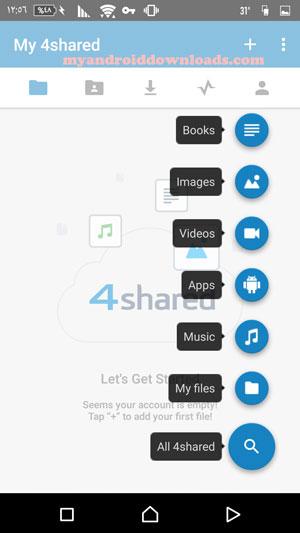 تحميل برنامج فور شيرد للاندرويد 4Shared Dwonload مجانا عربي 2016 - ادوات لتسهيل الوصول الى اقسام برنامج 4shared للاندرويد و رفع الملفات