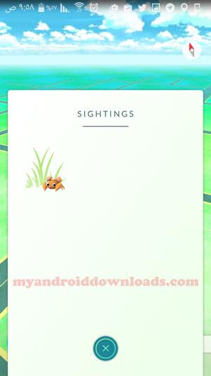 تغيير nearby الى sightings - تحديث بوكيمون جو ، تحديث لعبة بوكيمون جو