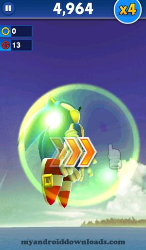 سونك بعد حصوله على الكرة الخضراء - تحميل لعبة سونيك داش للاندرويد اخر اصدار