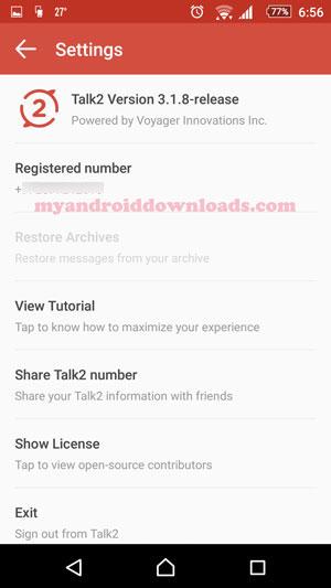 تحميل برنامج talk2 للاندرويد للحصول على رقم فيلبيني مكالمات و رسائل - صفحة الاعدادات الخاصة ببرنامج توك تو بعد تحميل تطبيق talk2 توك تو للاندرويد