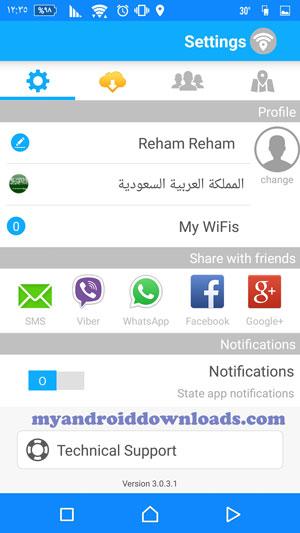 تحميل برنامج wifi map للاندرويد واي فاي ماب الاصلي مجانا 2016 - الملف الشخصي و الاعدادات من خلال برنامج wifi map للاندرويد
