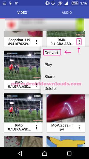 تحميل برنامج تحويل الصيغ الفيديو للاندرويد Audio/Video Converter شرح بالصور - اختيار تحويل صيغة الفيديو من خلال تنزييل برنامج تحويل الصيغ الفيديو للاندرويد