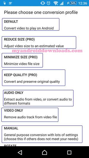 تحميل برنامج تحويل الصيغ الفيديو للاندرويد Audio/Video Converter شرح بالصور - خيارات متعددة من خلال برنامج تحويل صيغ الفيديو الى جميع الصيغ