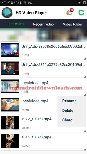 تحميل برنامج تشغيل فيديو للاندرويد HD Video Player مشغل فيديوهات - مجموعة من مقاطع الفيديو المحلية والموجودة على جهازك الاندرويد ومجموعة اخرى