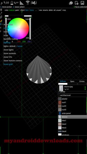 امكانية تحديد نوع المواد في برنامج رسم هندسي ثلاثي الابعاد spacedraw - تحميل برنامج رسم ثلاثي الابعاد للاندرويد