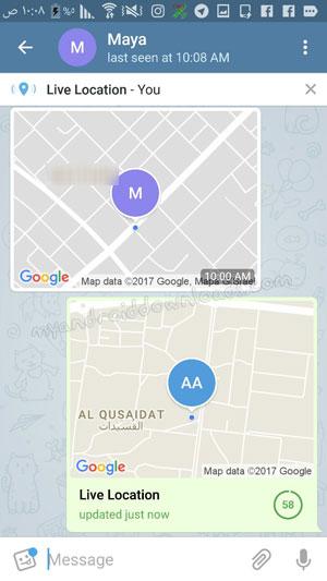 مشاركة موقعك الجغرافي بعد تحميل تلغرام