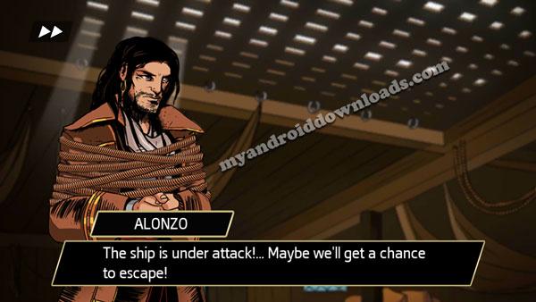 بعد تحميل لعبة Assassin's Creed للاندرويد تظهر لك صورة للقرصان الشاب اثناء خطفه في بداية اللعبة
