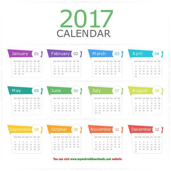 تقويم 2017 ميلادي انجليزي كامل صورة للطباعة gregorian calendar 2017