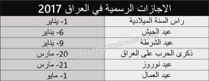 الاجازات الرسمية في العراق حسب التقويم الميلادي والهجري لعام 2017
