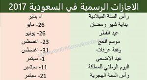 الاجازات الرسمية في السعودية حسب التقويم الميلادي لسنة 2017