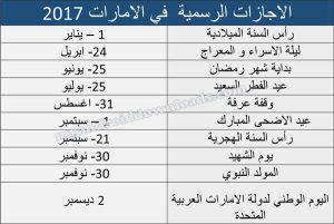 الاجازات الرسمية في الامارات حسب التقويم الميلادي 2017