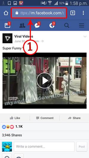 نسخ الفيديو المراد تحميله في فيسبوك