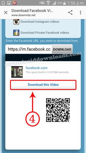 البدء بتحميل الفيديو من فيس بوك