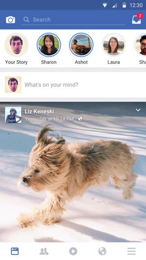 قصص فيسبوك الجديدة بعد تحميل فيس بوك اخر اصدار