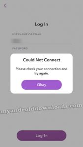 snapchat could not connect please check your connection and try again ( حل مشكلة سناب شات غير متصل بالانترنت : التحقق من اتصالك و حاول مرة ثانية لو سمحت ، could not connect : please check your connection and try again. ، مشكلة غير متصل بالانترنت سناب شات ، مشكلة سناب شات ما تقدر الاتصال )