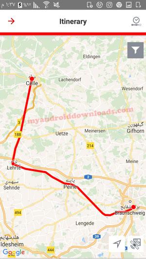 خريطة توضح مسار الرحلة في برنامج قطارات المانيا