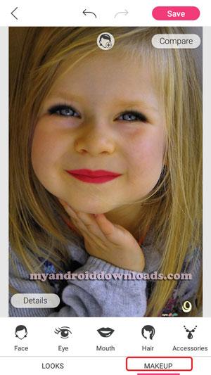 في برنامج يو كام ميك اب اضغط على مك اب makeup لاجراء تعديلات بتفاصيل دقيقة على الوجه
