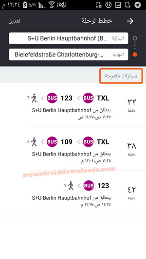 مجموعة من المسارات المقترحة بعد تحميل برنامج مواعيد الباصات في السويد للاندرويد