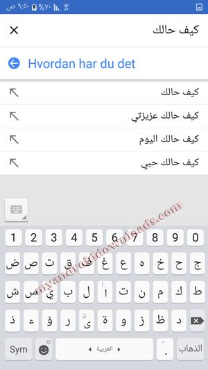 ترجمة النصوص كتابة عن طريق لوحة المفاتيح مع مزيد من مرادفات الكلمات من خلال برنامج ترجمة فوري عربي دنماركي