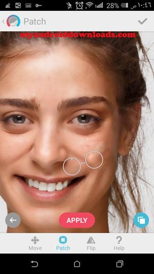 اخفاء النمش والعيوب من الوجه بعد تنزيل برنامج facetune للاندرويد