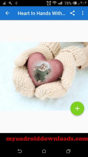 اضافة فلتر من قسم heart in hands with mitt بعد تحميل برنامج photo lab للاندرويد