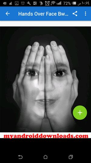 استخدام فلتر اليدين على الوجه في تطبيق photo lap