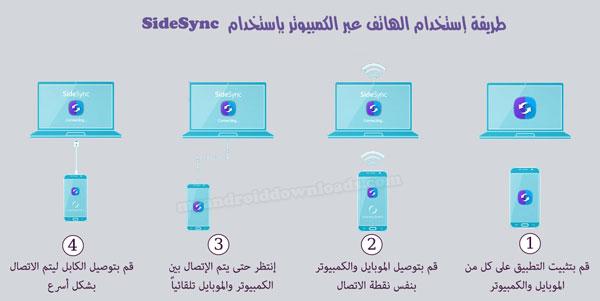 طريقة إستخدام الهاتف عبر الكمبيوتر بإستخدام SideSync