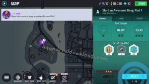 اختر مهمة لعبة معركة العصابات من الخريطة - تنزيل لعبة Gangstar New Orleans للموبايل
