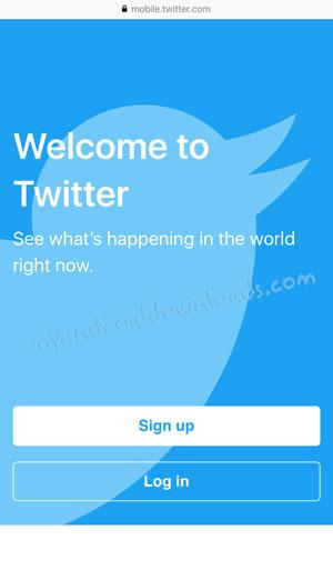 الشاشة الرئيسية التي ستظهر لك بعد تحميل برنامج تويتر لايت بعد اصداره