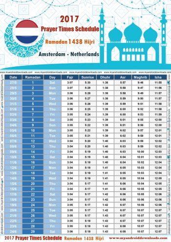 امساكية رمضان 2017 امستردام هولندا Ramadan Amsterdam Holland 2017 تقويم رمضان 1438