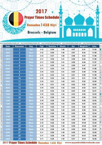 امساكية رمضان 2017 بروكسل بلجيكا تقويم رمضان 1438 Ramadan Imsakiye 2017 Bruxelles Belgium