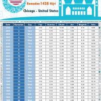 امساكية رمضان 2017 شيكاغو الولايات المتحدة الامريكية تقويم رمضان 1438 Ramadan Imsakiye 2017 Chicago United States of America
