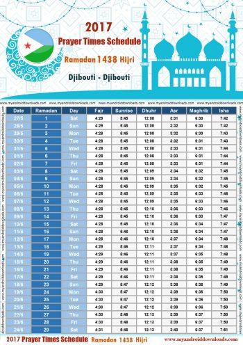 امساكية رمضان 2017 جيبوتي تقويم رمضان 1438 Ramadan Imsakiye 2017 Jabuuti